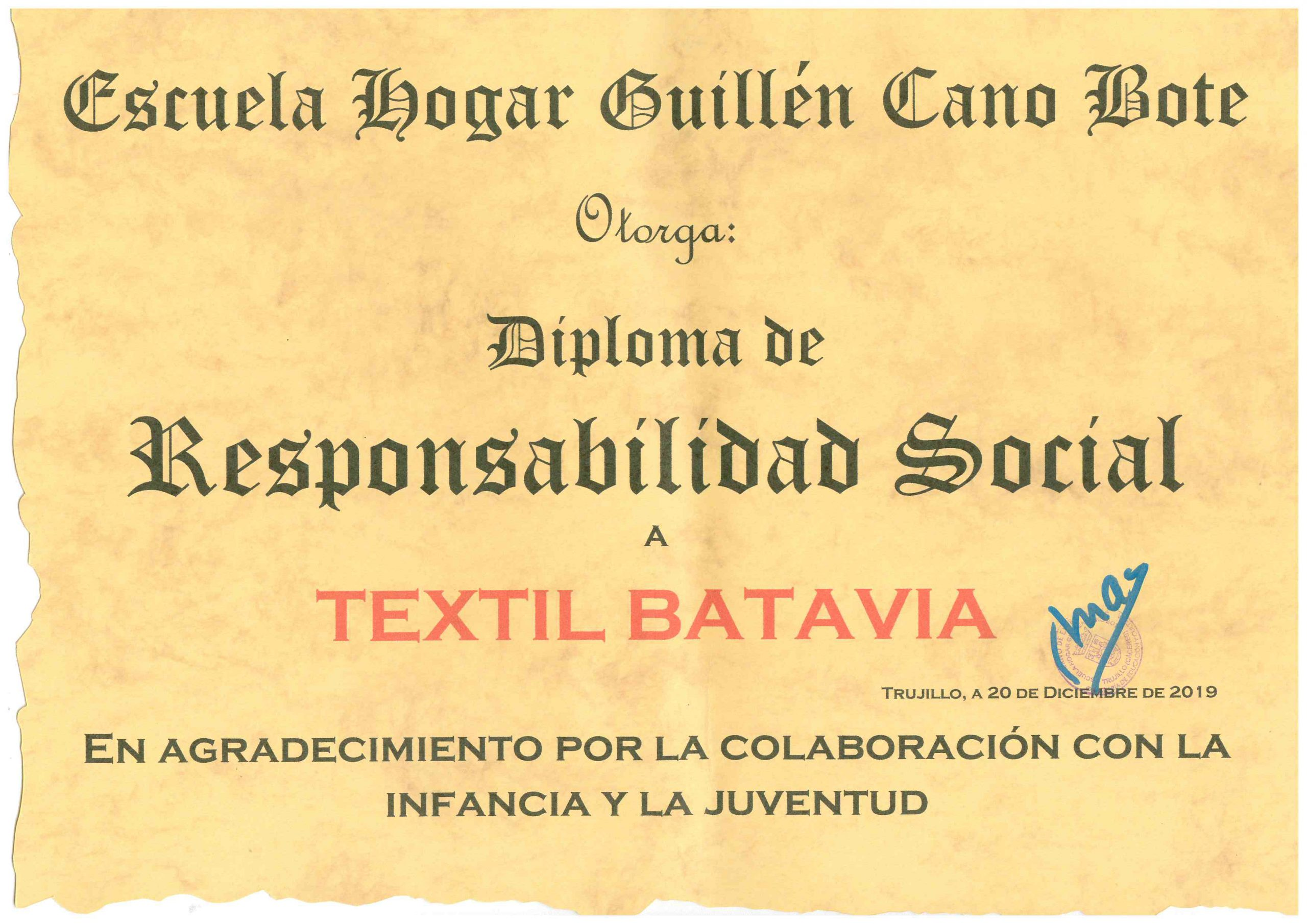 En este momento estás viendo TEXTIL BATAVIA es premiada por su Responsabilidad Social