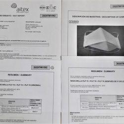 TEXTIL BATAVIA certifica en AITEX dos modelos de mascarillas como higiénicas reutilizables