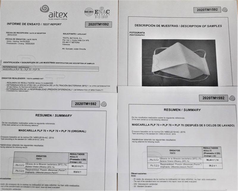 Lee más sobre el artículo TEXTIL BATAVIA certifica en AITEX dos modelos de mascarillas como higiénicas reutilizables